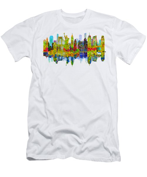 New York Skyline Men's T-Shirt (Slim Fit) by John Groves
