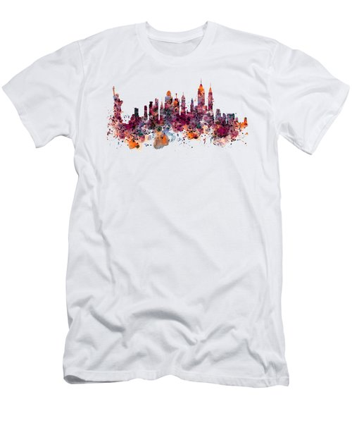 New York Skyline Watercolor Men's T-Shirt (Slim Fit) by Marian Voicu