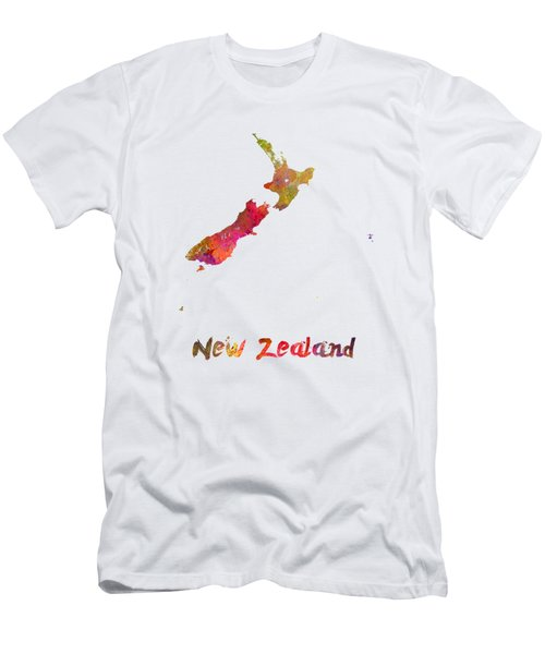 New Zealand In Watercolor Men's T-Shirt (Slim Fit) by Pablo Romero