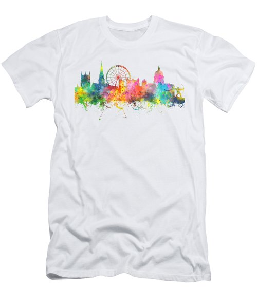 Nottingham  England Skyline Men's T-Shirt (Slim Fit) by Marlene Watson