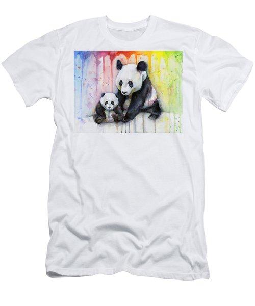 Panda Watercolor Mom And Baby Men's T-Shirt (Slim Fit) by Olga Shvartsur