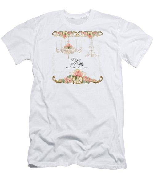 Parchment Paris - City Of Light Rose Chandelier W Plaster Walls Men's T-Shirt (Slim Fit) by Audrey Jeanne Roberts