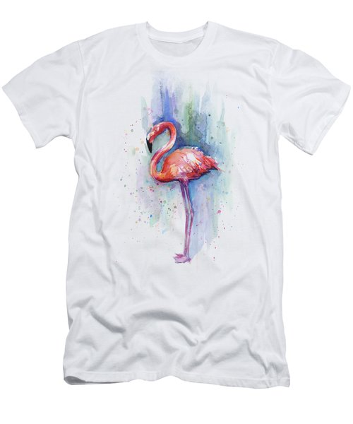Pink Flamingo Watercolor Men's T-Shirt (Slim Fit) by Olga Shvartsur