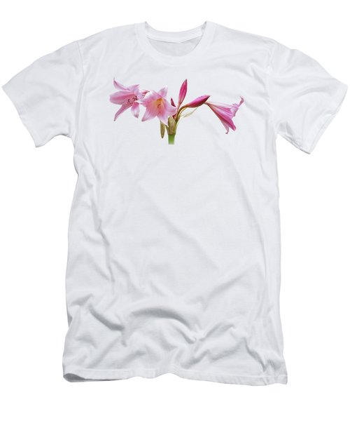Pink Lilies On Black Men's T-Shirt (Slim Fit) by Gill Billington