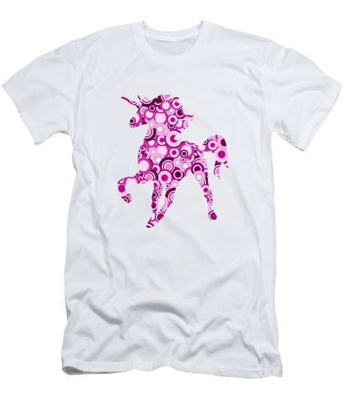 Pink Unicorn - Animal Art Men's T-Shirt (Slim Fit) by Anastasiya Malakhova