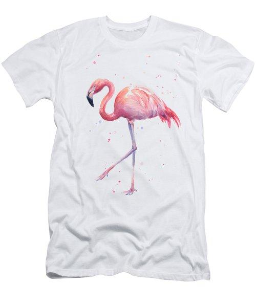 Pink Watercolor Flamingo Men's T-Shirt (Slim Fit) by Olga Shvartsur
