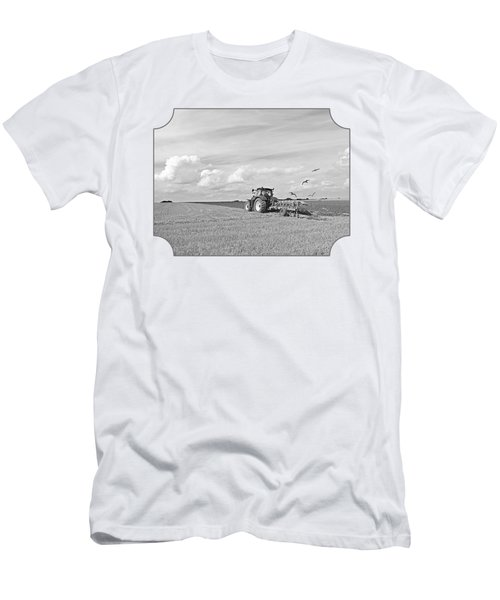 Ploughing After The Harvest In Black And White Men's T-Shirt (Slim Fit) by Gill Billington