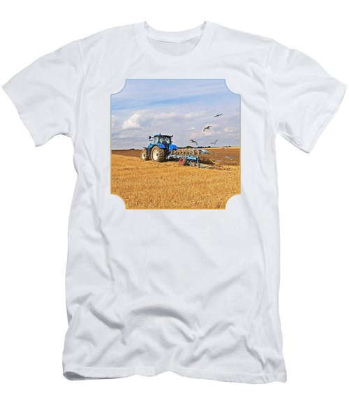 Ploughing After The Harvest - Square Men's T-Shirt (Slim Fit) by Gill Billington