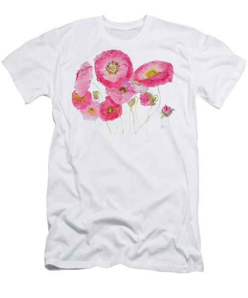 Poppy Painting On White Background Men's T-Shirt (Slim Fit) by Jan Matson