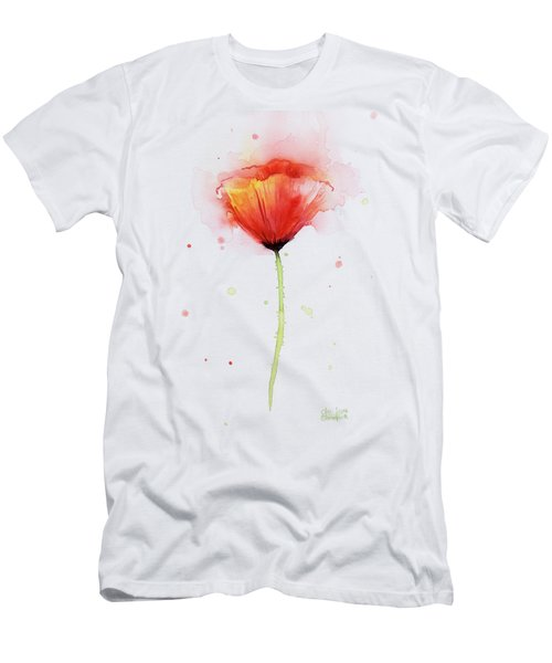 Poppy Watercolor Red Abstract Flower Men's T-Shirt (Slim Fit) by Olga Shvartsur