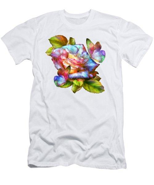 Rainbow Rose And Butterflies Men's T-Shirt (Slim Fit) by Carol Cavalaris