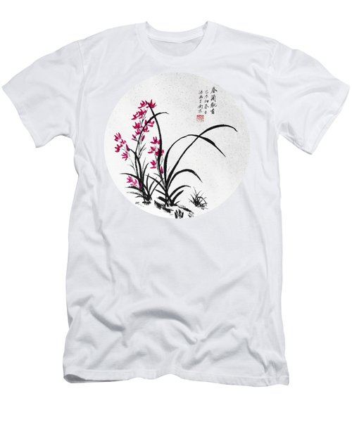 Red Iris - Round Men's T-Shirt (Slim Fit) by Birgit Moldenhauer