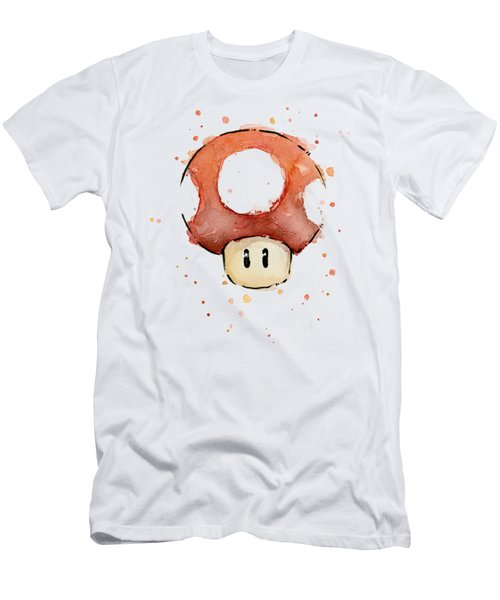 Red Mushroom Watercolor Men's T-Shirt (Slim Fit) by Olga Shvartsur