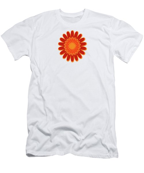 Red Sunflower Pattern Men's T-Shirt (Slim Fit) by Methune Hively