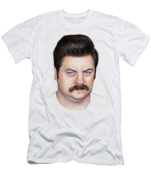 Ron Swanson Portrait Nick Offerman Men's T-Shirt (Slim Fit) by Olga Shvartsur