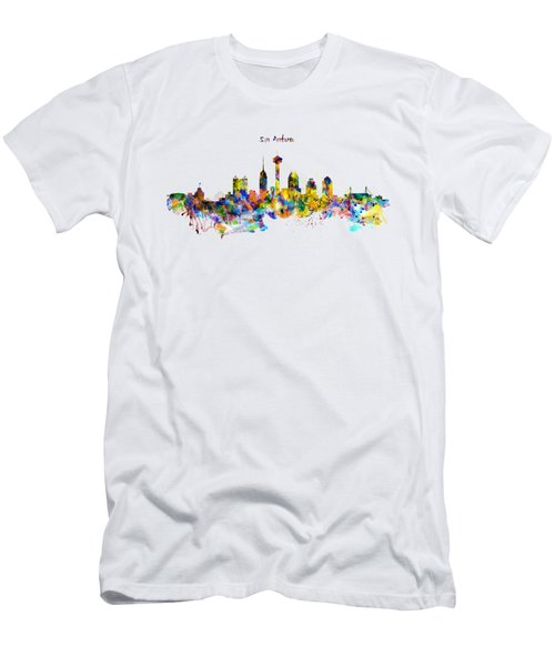 San Antonio Skyline Silhouette Men's T-Shirt (Slim Fit) by Marian Voicu