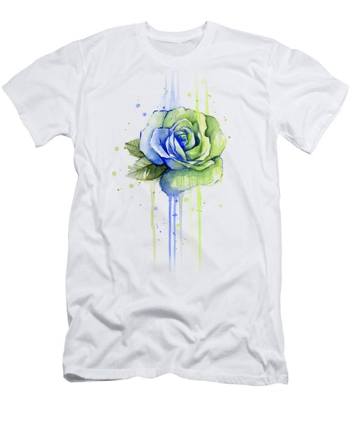 Seattle 12th Man Seahawks Watercolor Rose Men's T-Shirt (Slim Fit) by Olga Shvartsur