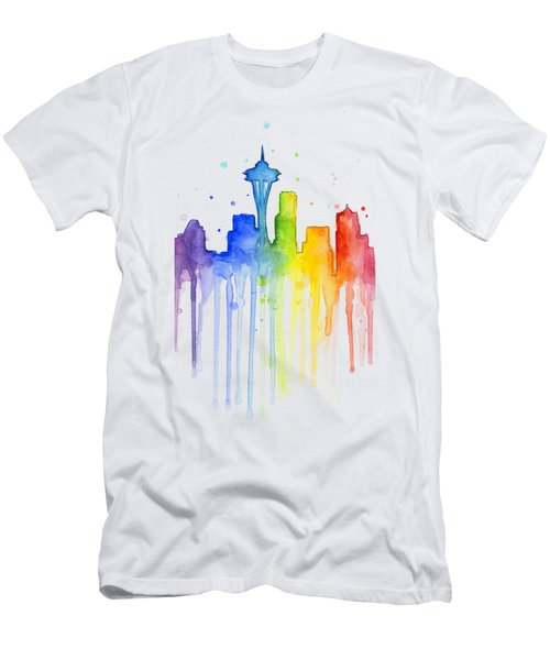 Seattle Rainbow Watercolor Men's T-Shirt (Slim Fit) by Olga Shvartsur