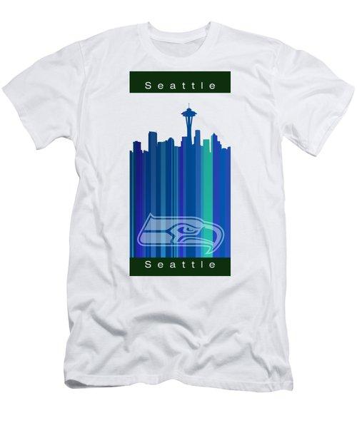 Seattle Sehawks Skyline Men's T-Shirt (Slim Fit) by Alberto RuiZ