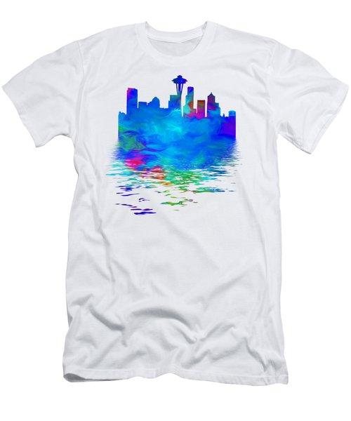 Seattle Skyline, Blue Tones On White Men's T-Shirt (Slim Fit) by Pamela Saville