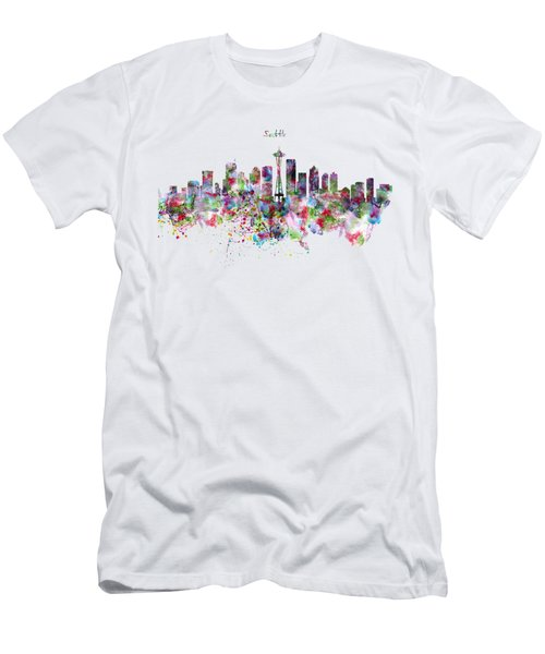 Seattle Skyline Silhouette Men's T-Shirt (Slim Fit) by Marian Voicu