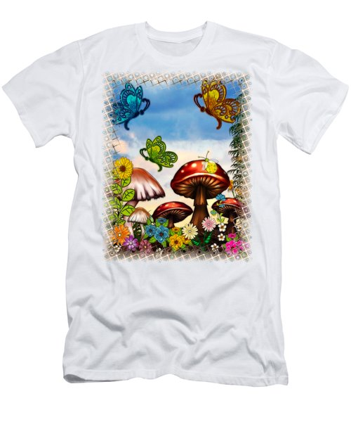 Shroomvilla Summer Fantasy Folk Art Men's T-Shirt (Slim Fit) by Sharon and Renee Lozen