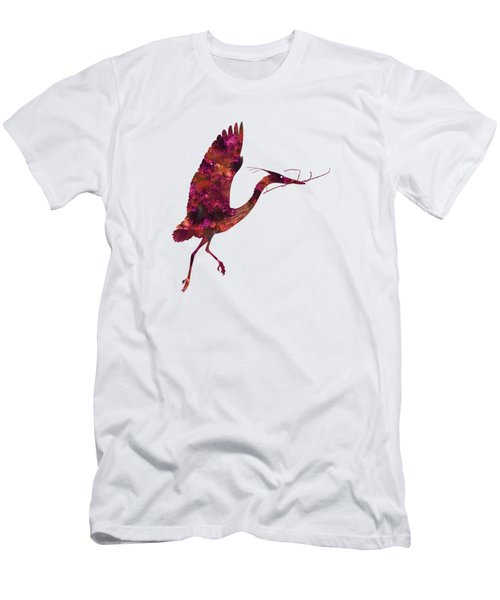 Colorful Great Blue Heron Silhouette Men's T-Shirt (Slim Fit) by Shara Lee