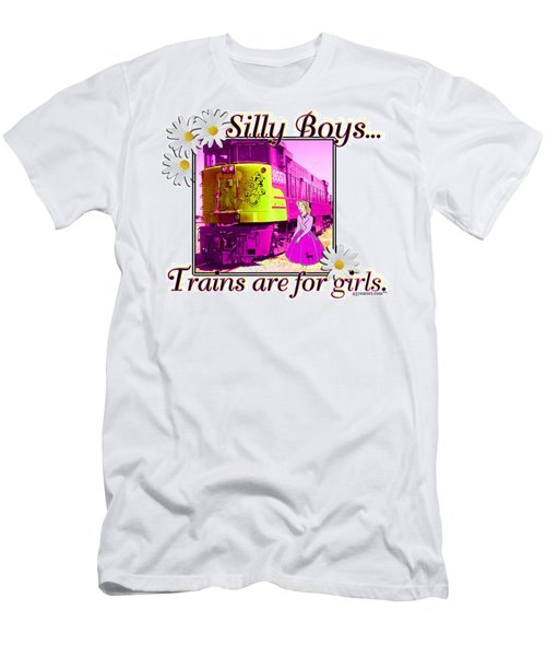Silly Boys, Trains Men's T-Shirt (Slim Fit) by Sheri Cockrell