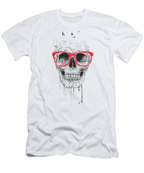 Skull With Red Glasses Men's T-Shirt (Slim Fit) by Balazs Solti