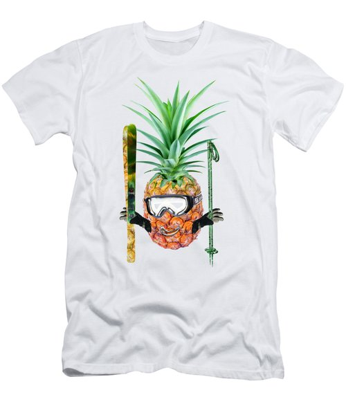 Smiling Pineapple-downhill Skier Men's T-Shirt (Slim Fit) by Elena Nikolaeva