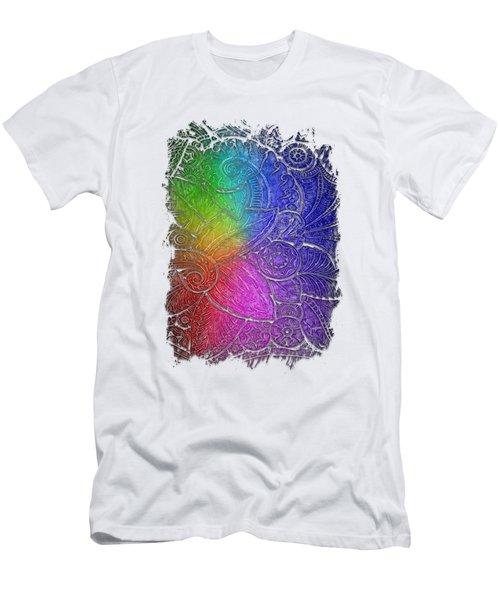Swan Dance Cool Rainbow 3 Dimensional Men's T-Shirt (Slim Fit) by Di Designs