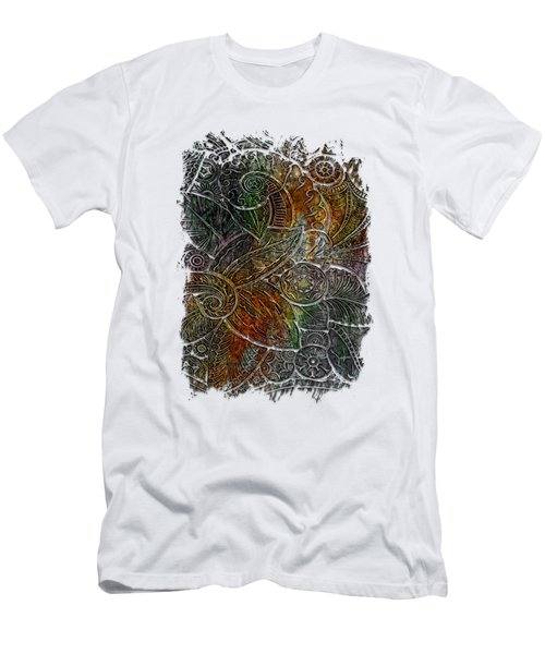 Swan Dance Muted Rainbow 3 Dimensional Men's T-Shirt (Slim Fit) by Di Designs