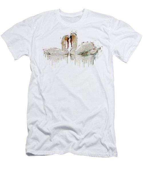 Swan Love Acrylic Painting Men's T-Shirt (Slim Fit) by Georgeta Blanaru