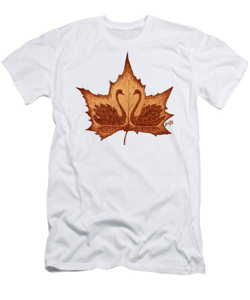 Swans Love On Maple Leaf Original Coffee Painting Men's T-Shirt (Slim Fit) by Georgeta Blanaru