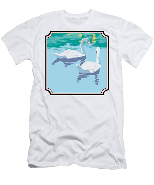 Swans On The Lake And Reflections Absract - Square Format Men's T-Shirt (Slim Fit) by Walt Curlee