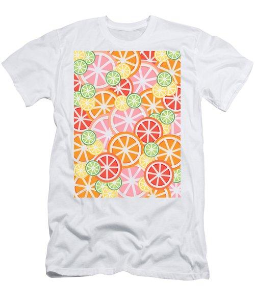 Sweet And Sour Citrus Print Men's T-Shirt (Slim Fit) by Lauren Amelia Hughes