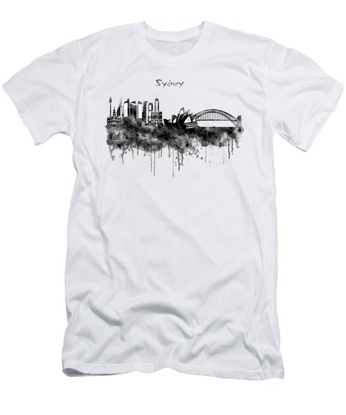 Sydney Black And White Watercolor Skyline Men's T-Shirt (Slim Fit) by Marian Voicu