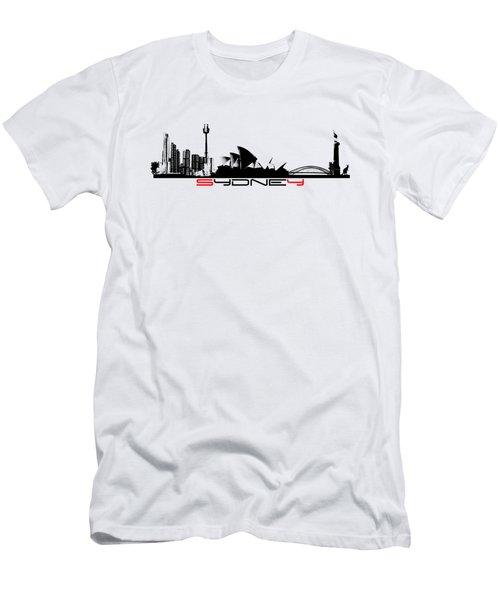 Sydney Skyline Black Men's T-Shirt (Slim Fit) by Justyna JBJart