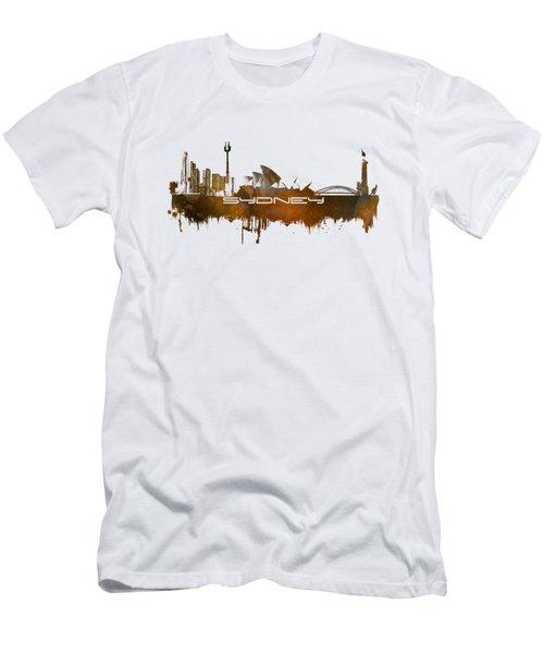 Sydney Skyline City Brown Men's T-Shirt (Slim Fit) by Justyna JBJart