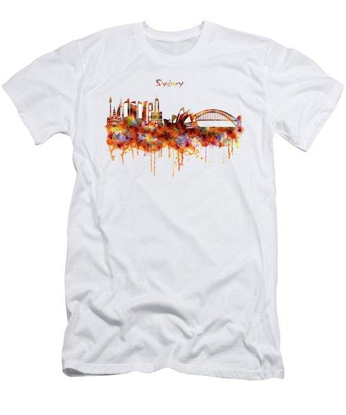 Sydney Watercolor Skyline Men's T-Shirt (Slim Fit) by Marian Voicu