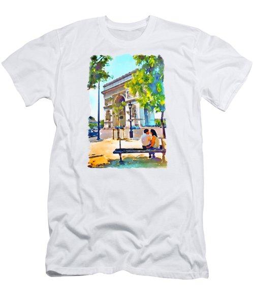 The Arc De Triomphe Paris Men's T-Shirt (Slim Fit) by Marian Voicu