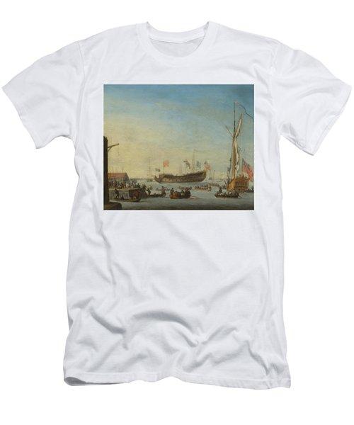 The Launch Of A Man Of War Men's T-Shirt (Slim Fit) by Robert Woodcock
