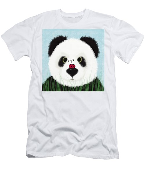 The Panda And His Visitor  Men's T-Shirt (Slim Fit) by Michelle Brenmark