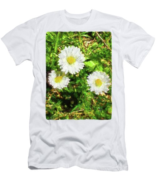 Three Daisies In The Sun Men's T-Shirt (Slim Fit) by Jackie VanO