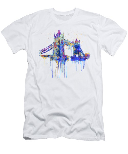 Tower Bridge Watercolor Men's T-Shirt (Slim Fit) by Marian Voicu