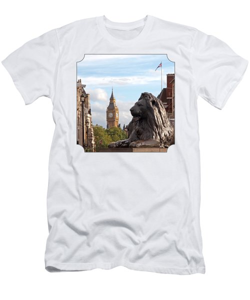 Trafalgar Square Lion With Big Ben Men's T-Shirt (Slim Fit) by Gill Billington