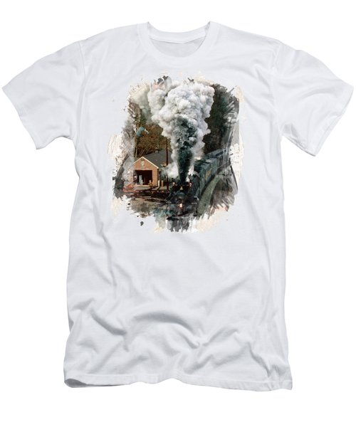 Train Days Men's T-Shirt (Slim Fit) by Florentina Maria Popescu