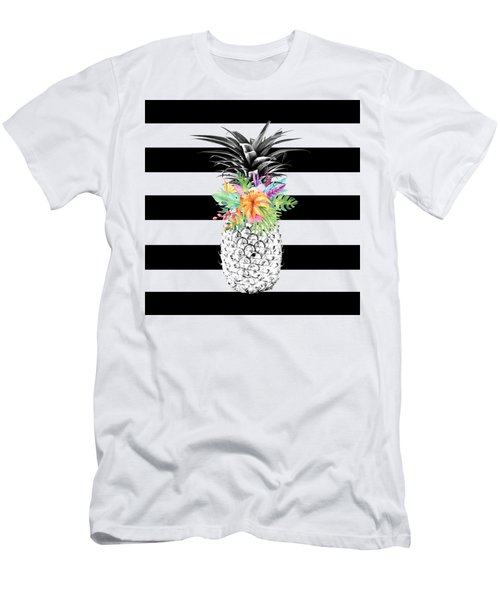 Tropical Flower Pineapple Black And White Stripes Men's T-Shirt (Slim Fit) by Dushi Designs