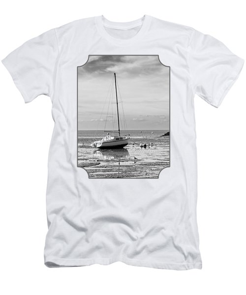 Waiting For High Tide Black And White Men's T-Shirt (Slim Fit) by Gill Billington