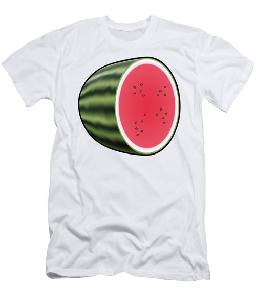 Water Melon Outlined Men's T-Shirt (Slim Fit) by Miroslav Nemecek